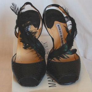 Manolo Blahnik Dianamus Formal Snake Feather Heels